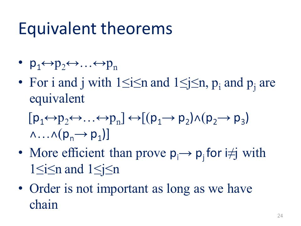 Equivalent theorems p1↔p2↔…↔pn