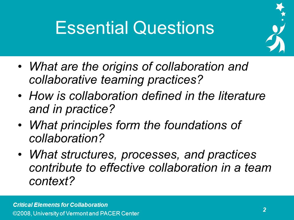 Agenda: Critical Elements of Collaboration