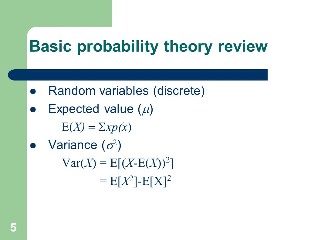Basic probability theory review