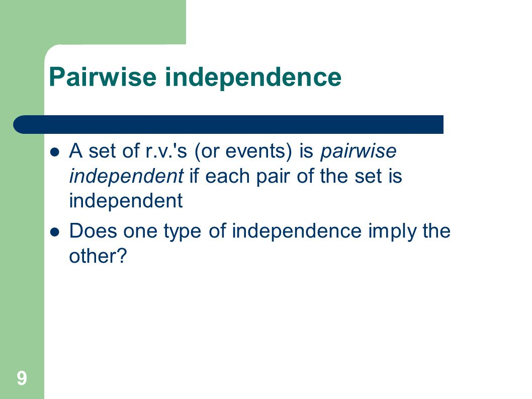 Pairwise independence