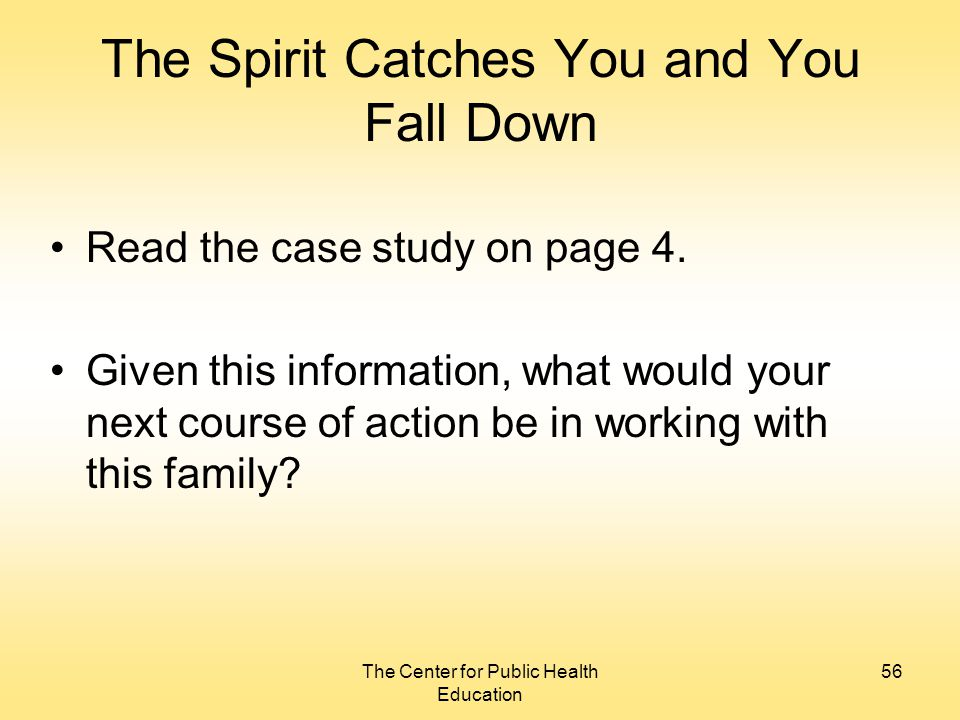 the spirit catches you a look From the publisher: the spirit catches you and you fall down explores the  clash between a small county hospital in california and a refugee.