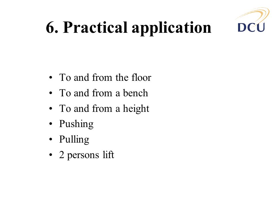 6. Practical application