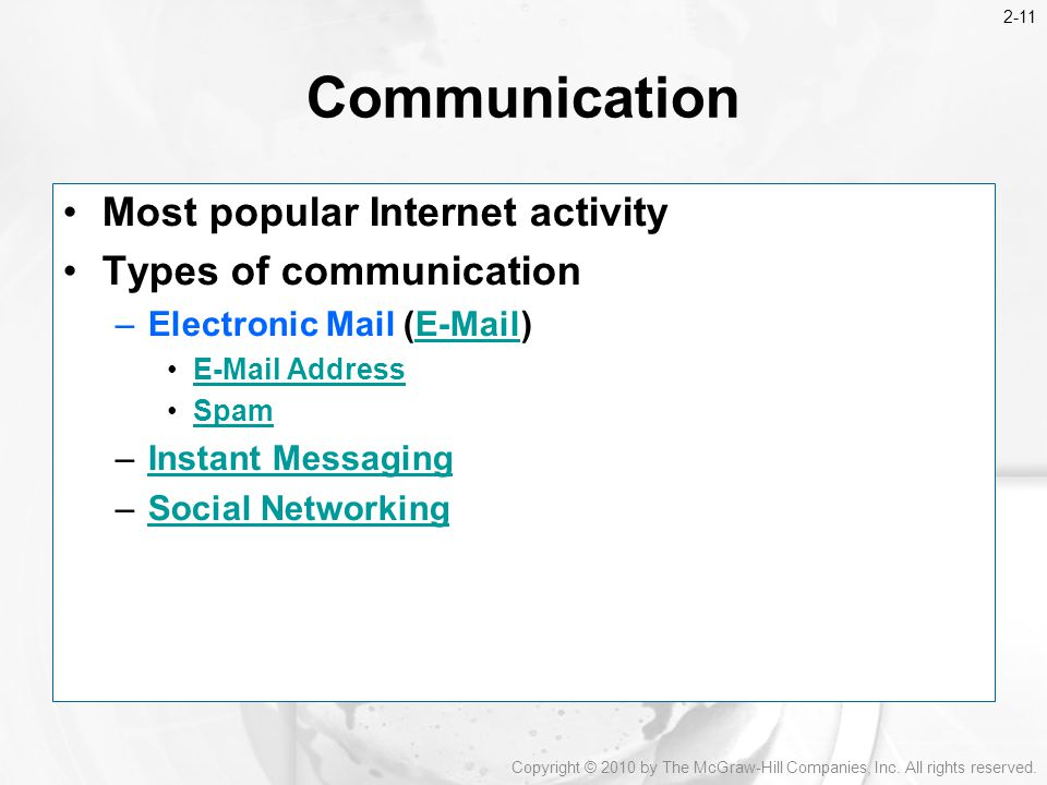 Communication Most popular Internet activity Types of communication