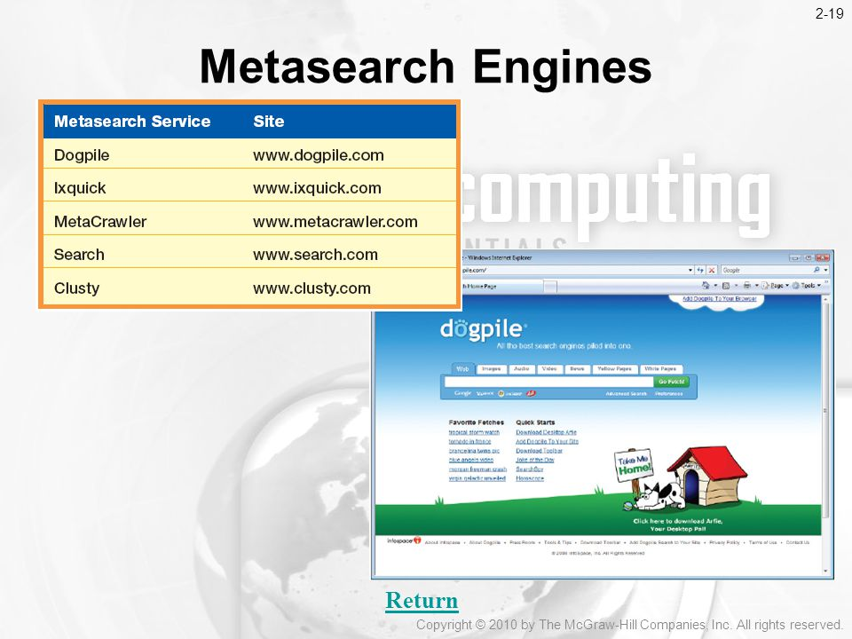 Metasearch Engines Return 2-19