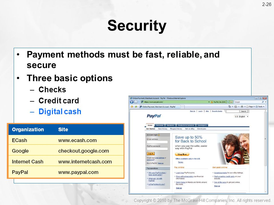 Security Payment methods must be fast, reliable, and secure