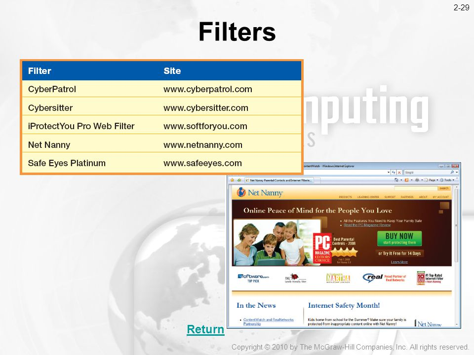 2-29 Filters Return Copyright © 2010 by The McGraw-Hill Companies, Inc. All rights reserved.