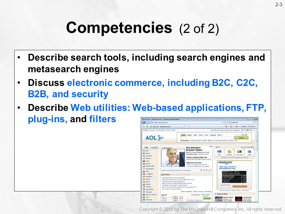 2-3 Competencies (2 of 2) Describe search tools, including search engines and metasearch engines.
