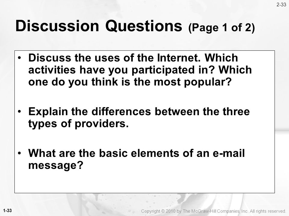 Discussion Questions (Page 1 of 2)