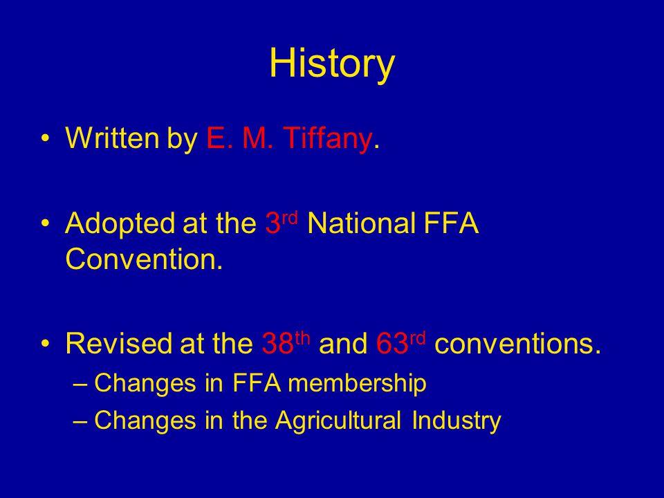 History Written by E. M. Tiffany.
