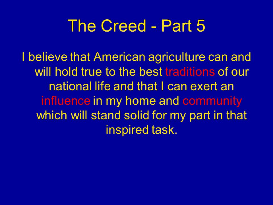 The Creed - Part 5