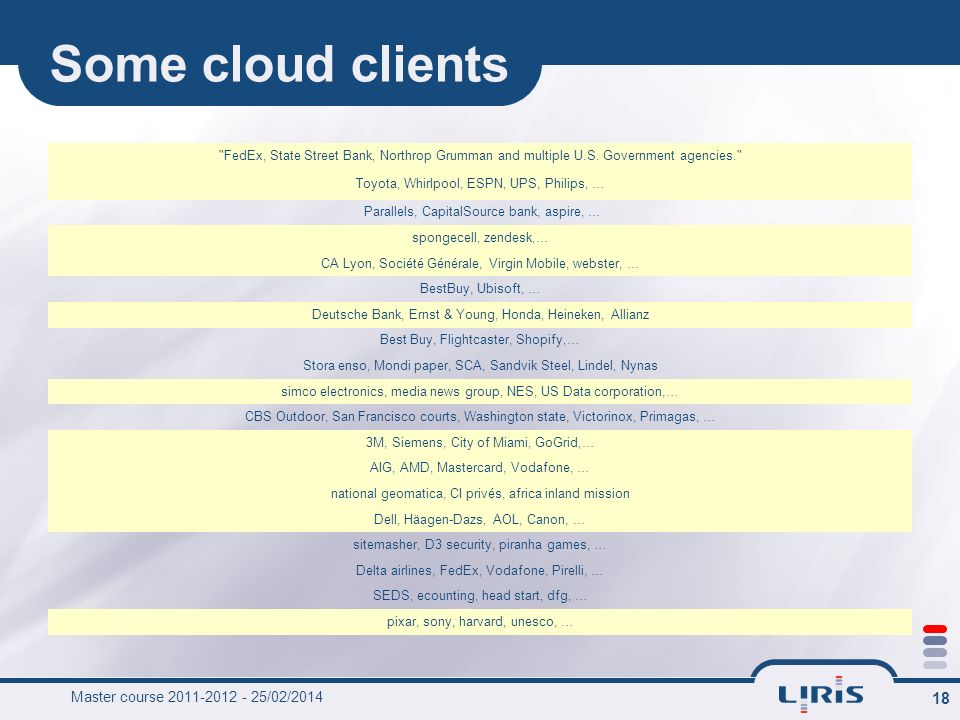 Some cloud clients Master course 2011-2012 - 26/03/2017