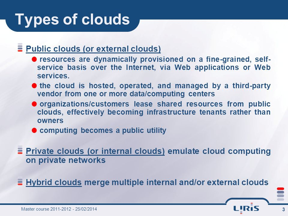 Types of clouds Public clouds (or external clouds)