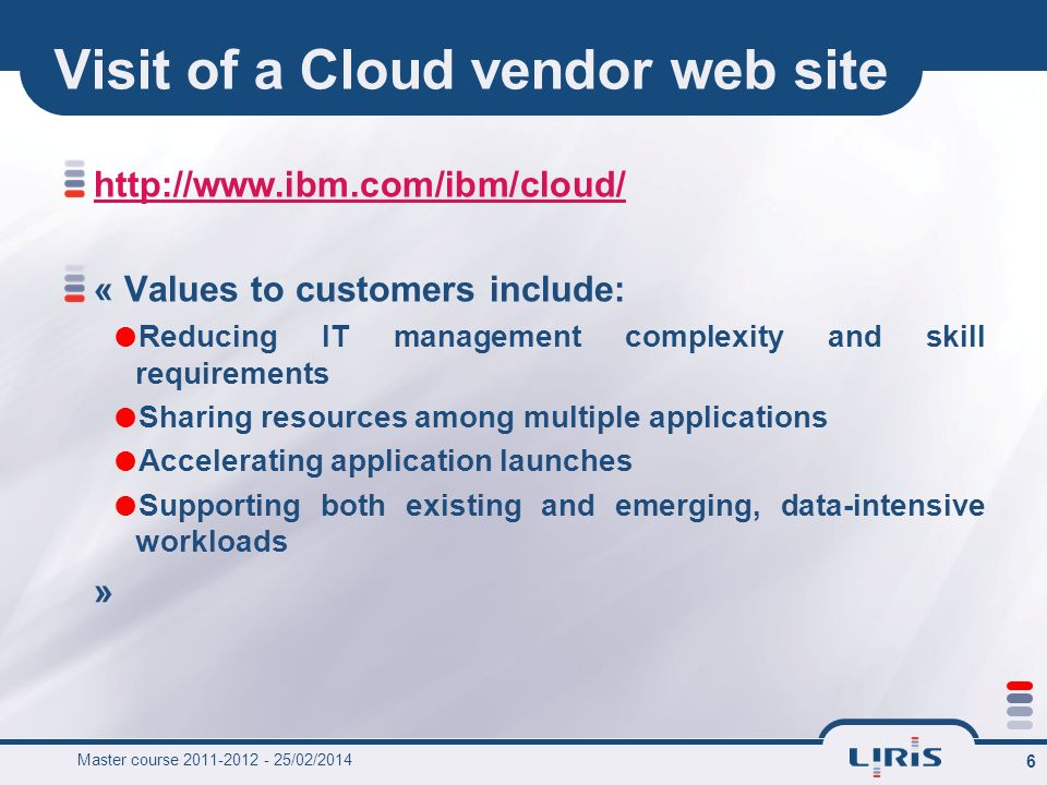 Visit of a Cloud vendor web site