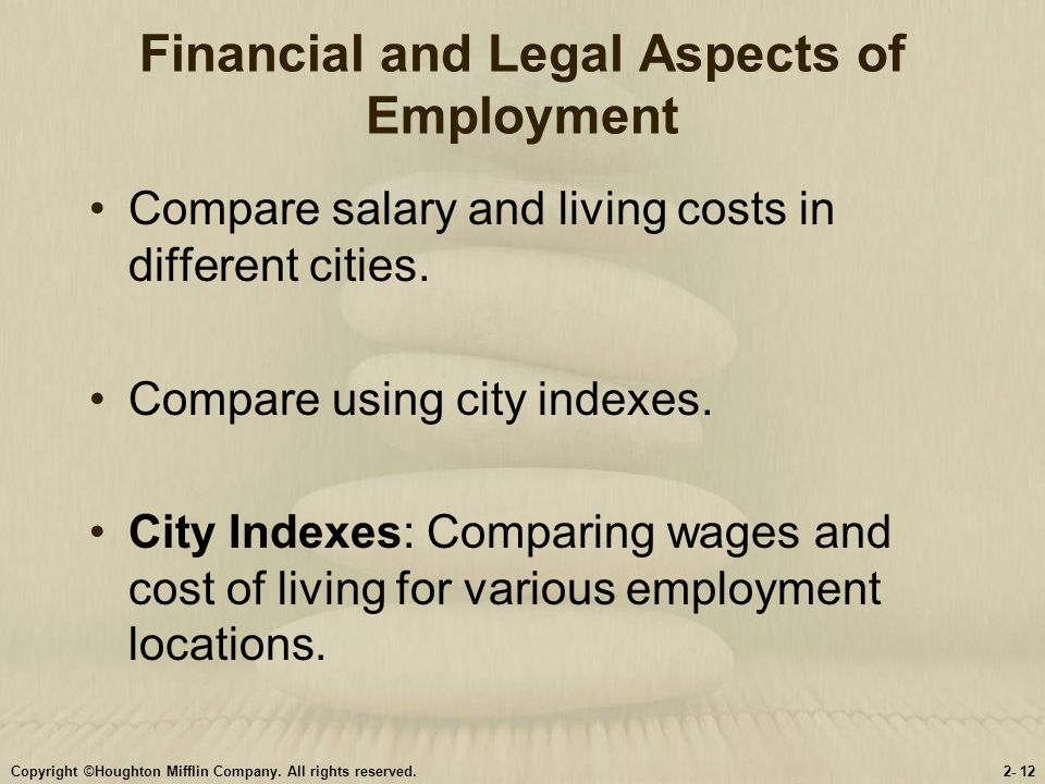Financial and Legal Aspects of Employment