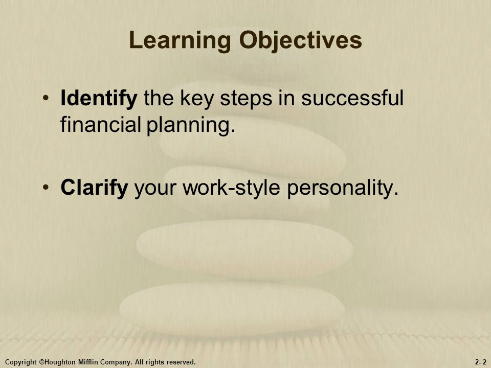 Learning Objectives Identify the key steps in successful financial planning. Clarify your work-style personality.