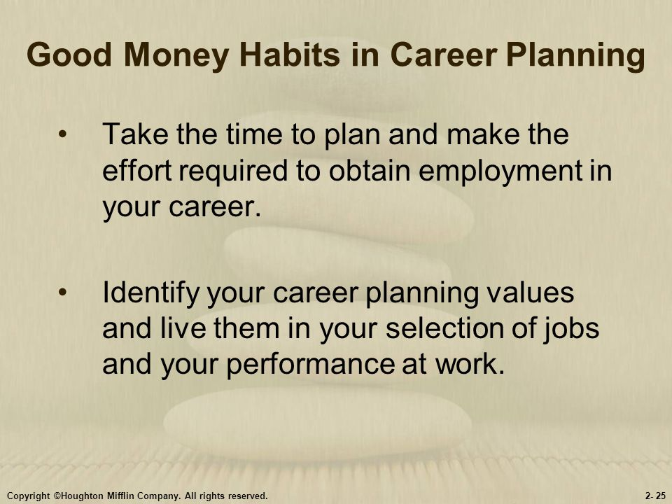 Good Money Habits in Career Planning