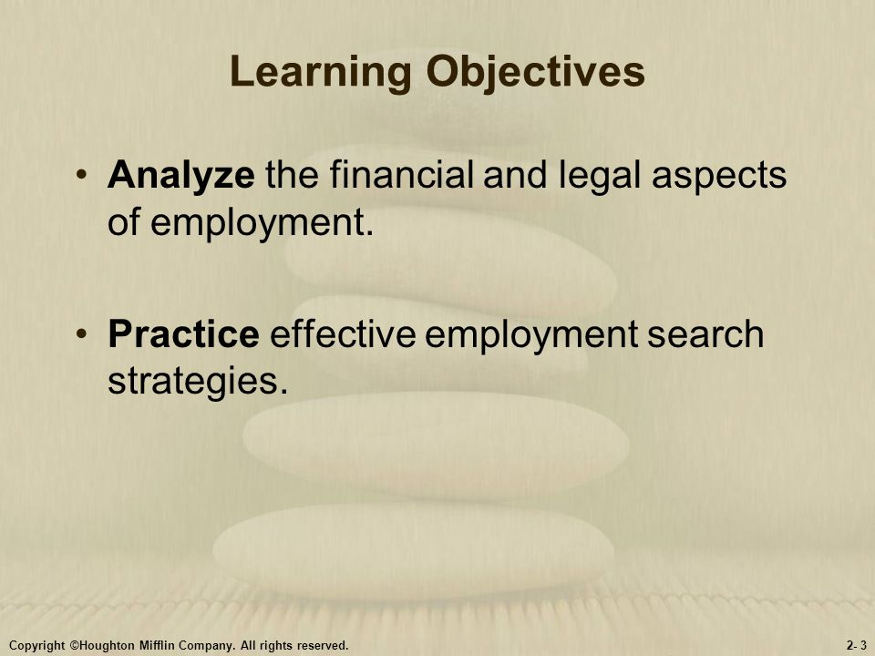 Learning Objectives Analyze the financial and legal aspects of employment. Practice effective employment search strategies.