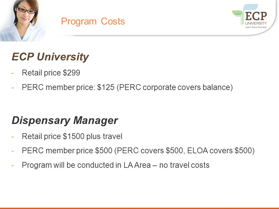 ECP University Dispensary Manager Program Costs Retail price $299