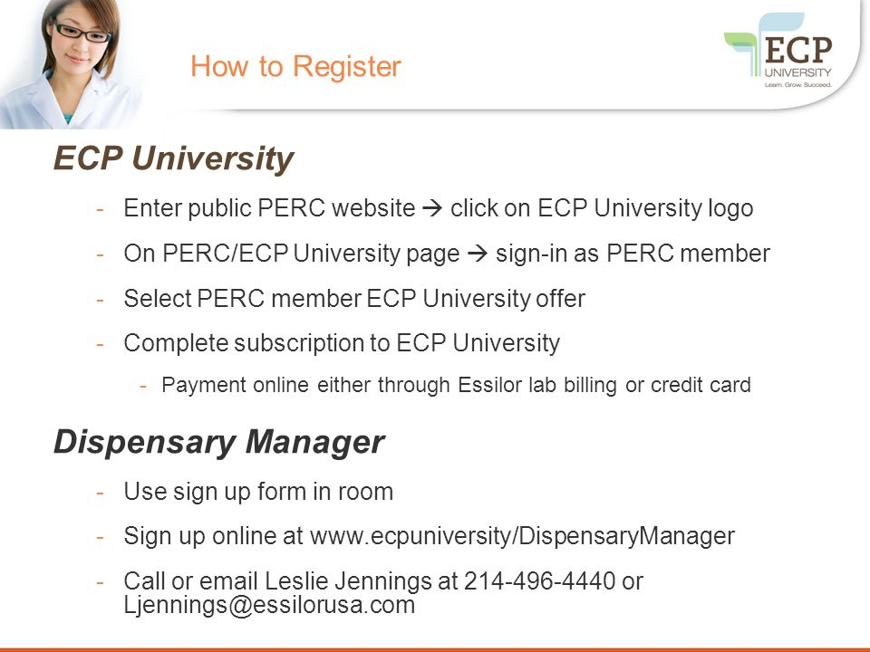 ECP University Dispensary Manager How to Register