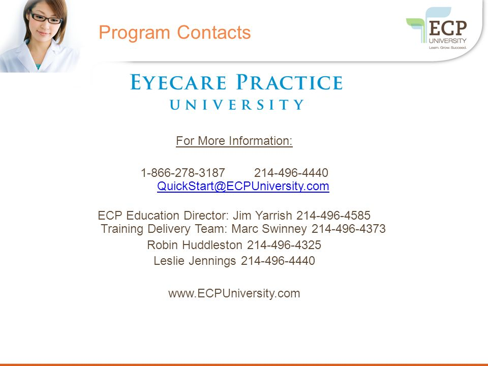 1-866-278-3187 214-496-4440 QuickStart@ECPUniversity.com