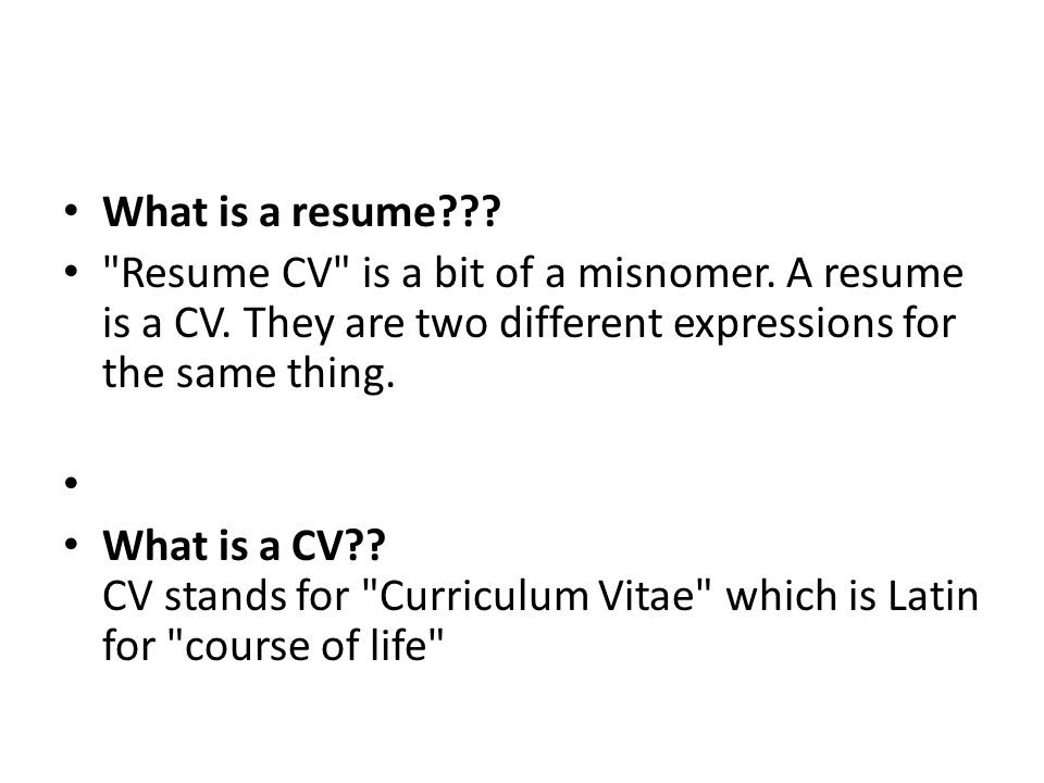 Fieldstation.co  Is A Cv The Same As A Resume