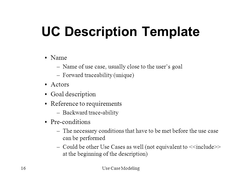UC Description Template