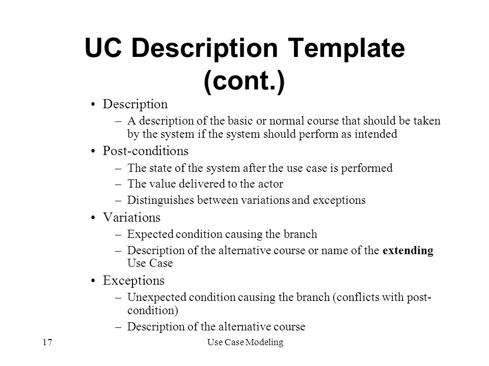 UC Description Template (cont.)