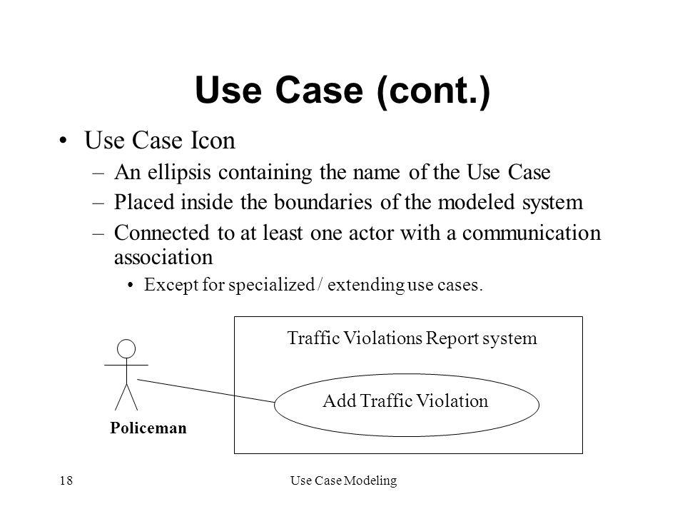 Use Case (cont.) Use Case Icon