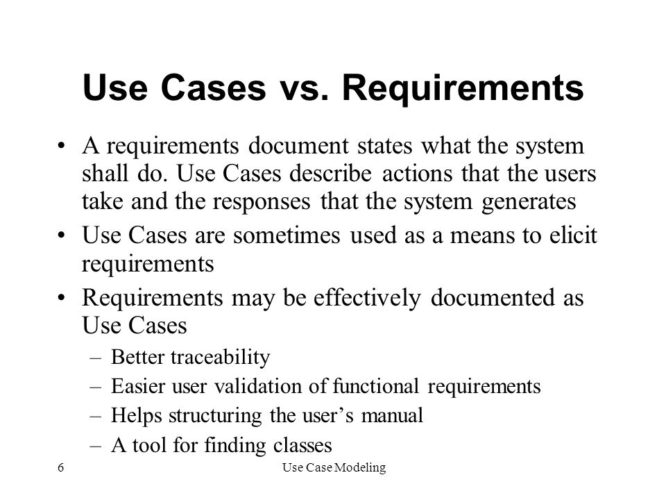 Use Cases vs. Requirements