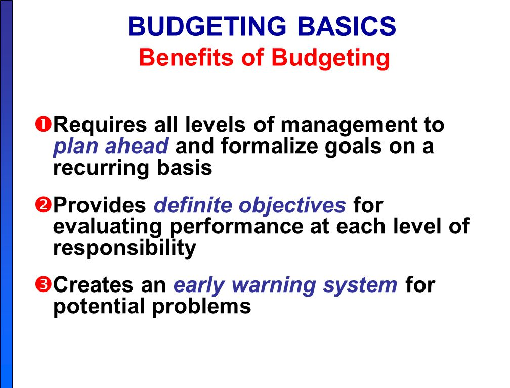 Chapter 9 Budgeting A Budget Is A Formal Written Statement