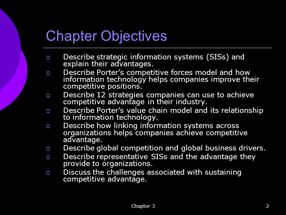Chapter Objectives Describe strategic information systems (SISs) and explain their advantages.