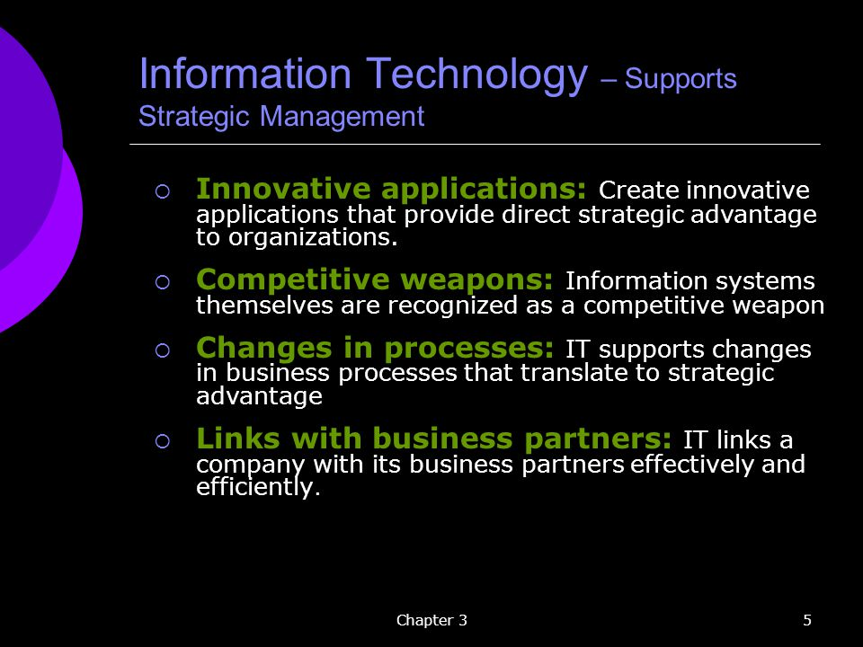 Information Technology – Supports Strategic Management
