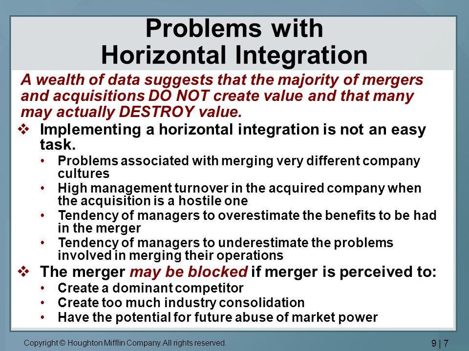the strategic gains from horizontal integration Vertical integration of value chain activities and other strategic the drawbacks may negate any potential gains vertical integration potentially has the.