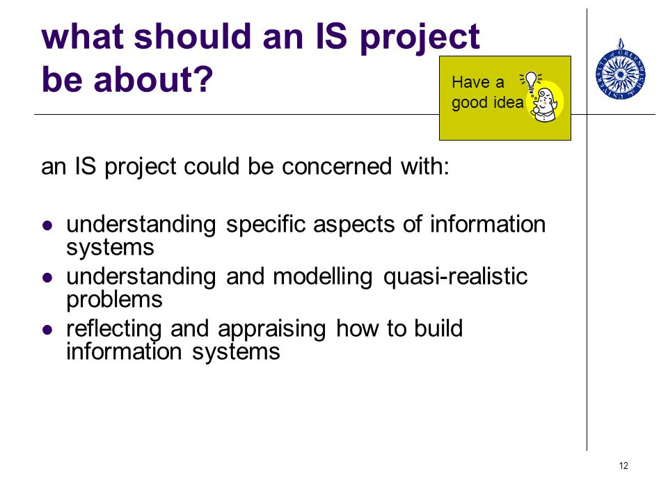 what should an IS project be about