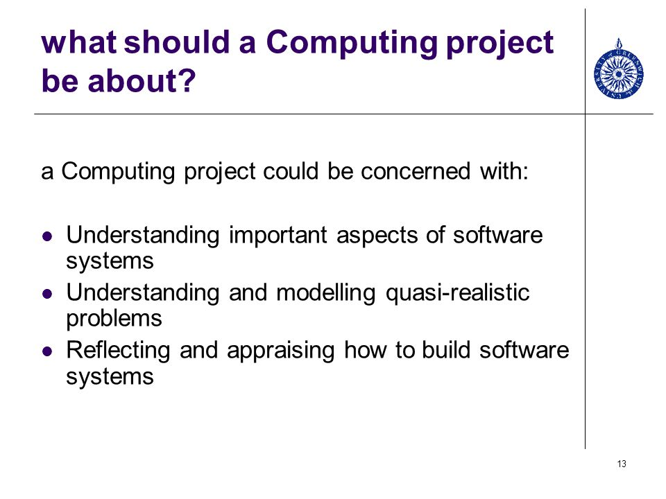 what should a Computing project be about