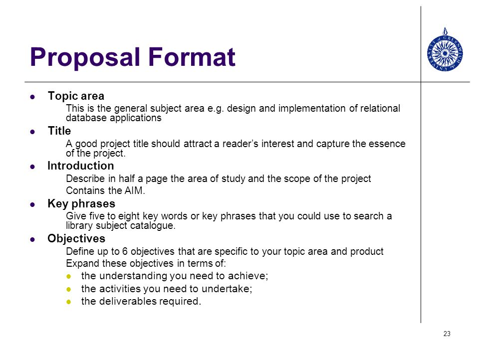 Proposal Format Topic area Title Introduction Key phrases Objectives