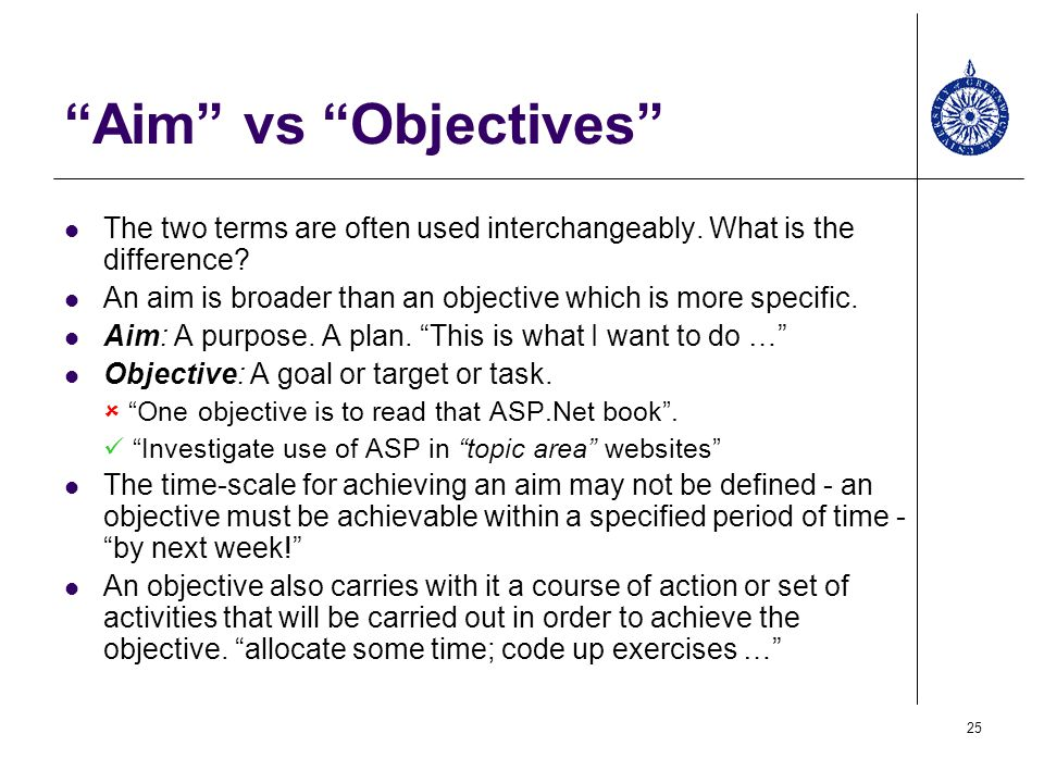 Aim vs Objectives The two terms are often used interchangeably. What is the difference