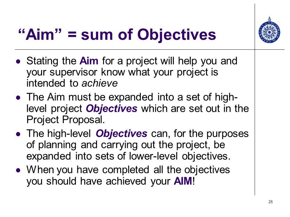 Aim = sum of Objectives