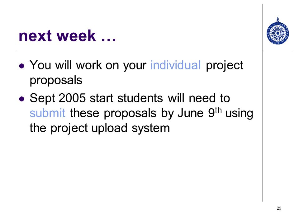 next week … You will work on your individual project proposals