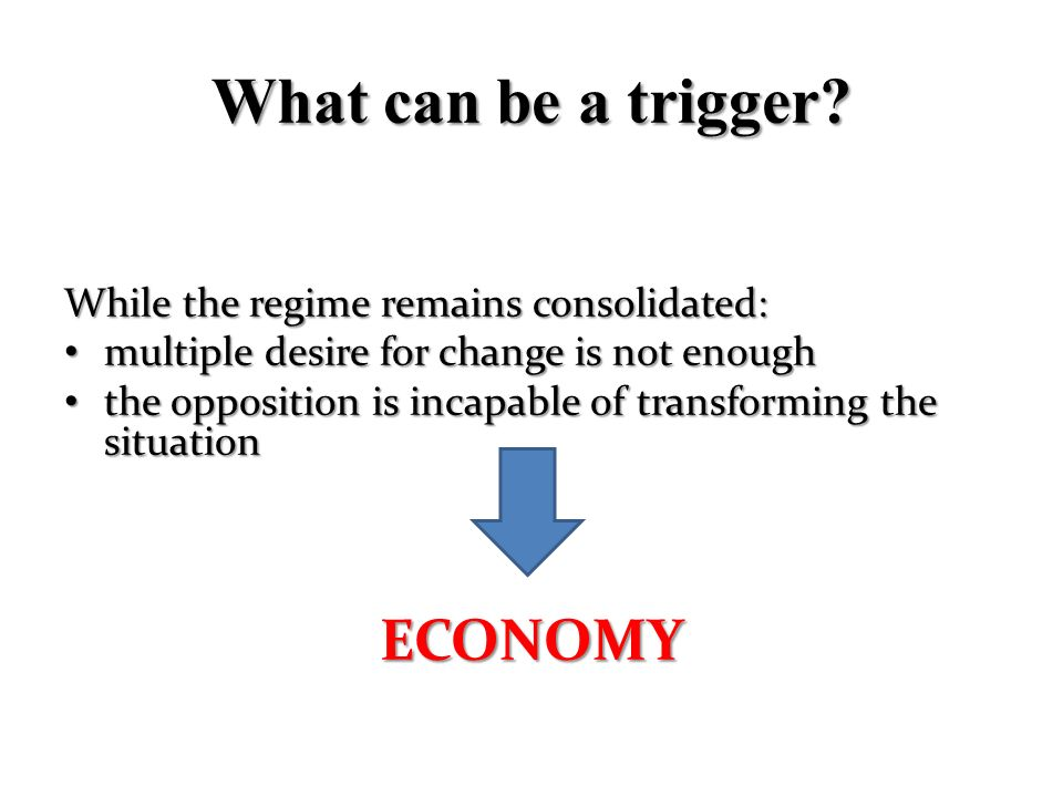 What can be a trigger ECONOMY While the regime remains consolidated: