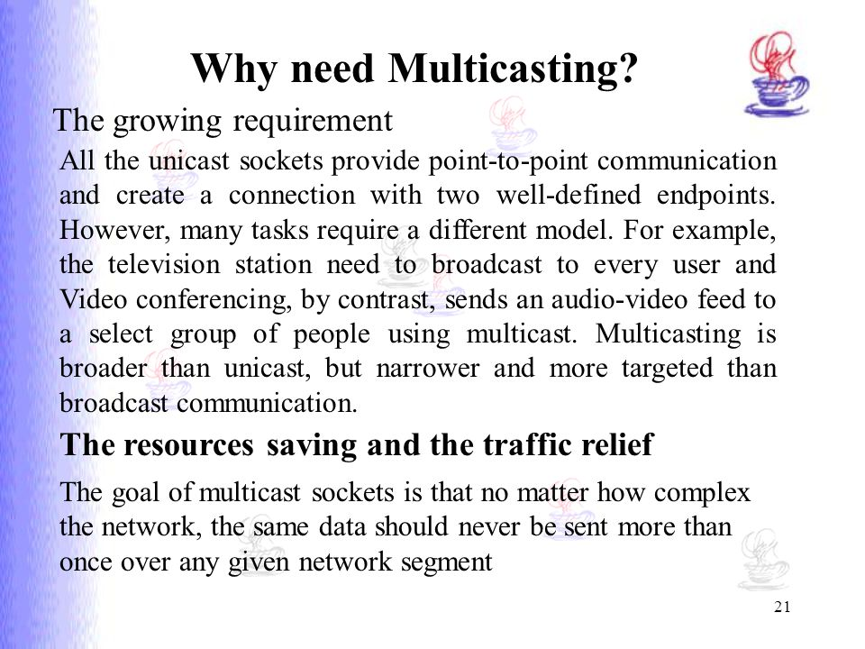 Why need Multicasting The growing requirement