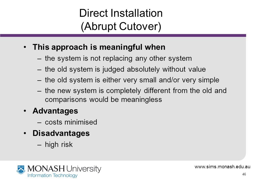 what are the different approaches to system installation If the system is a database or an information system, provide a general discussion of the description of the type of data maintained and the operational sources and uses of those data this section provides a brief description of the system and the planned deployment, installation, and implementation approach.