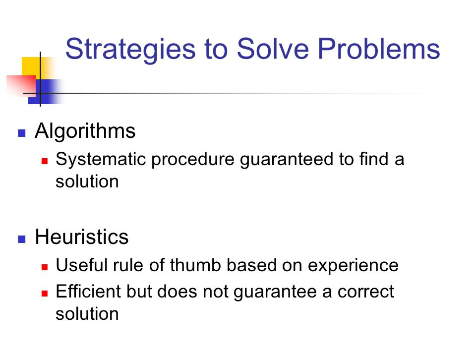 an analysis of the algorithmic and heuristic problem solutions A heuristic is a mental shortcut that allows people to solve problems and make judgments quickly and efficiently these rule-of-thumb strategies shorten decision-making time and allow people to function without constantly stopping to think about their next course of action.