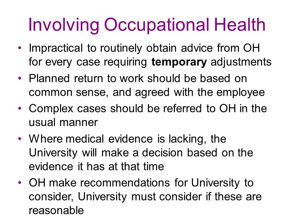 Involving Occupational Health