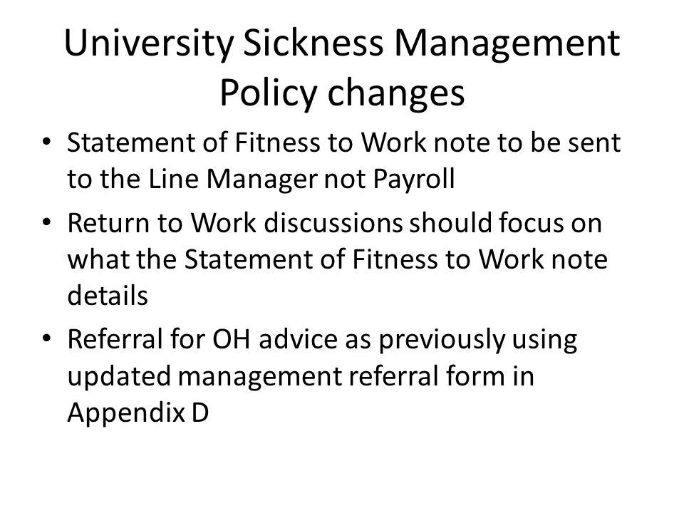 University Sickness Management Policy changes