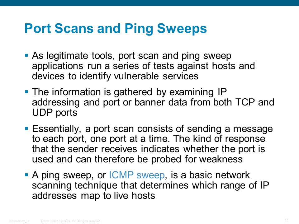 ping sweep and port scan essay A ping sweep (also known as an icmp sweep) is a basic network scanning technique used to determine which of a range of ip addresses map to live hosts (computers) whereas a single ping will tell you whether one specified host computer exists on the network, a ping sweep consists of icmp (internet control message protocol) echo requests sent to multiple hosts.