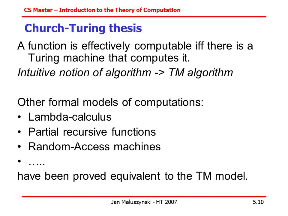 Intuitive notion of algorithm -> TM algorithm
