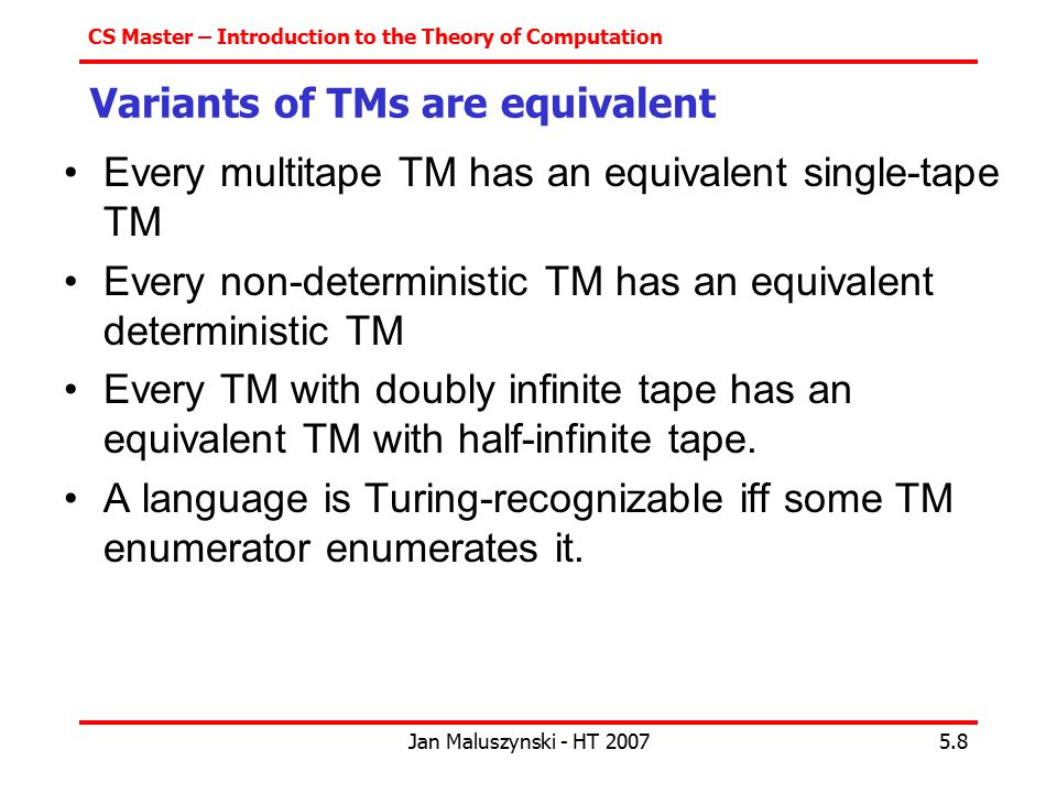 Variants of TMs are equivalent