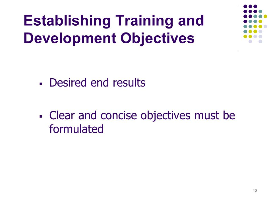 Establishing Training and Development Objectives