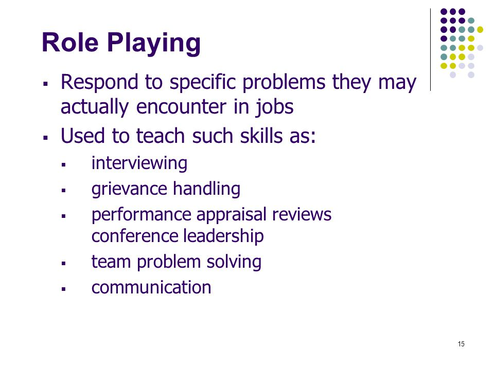 Role Playing Respond to specific problems they may actually encounter in jobs. Used to teach such skills as: